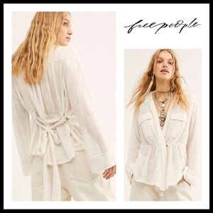 FREE PEOPLE BOHO TIE FRONT WRAP TUNIC TOP A3C